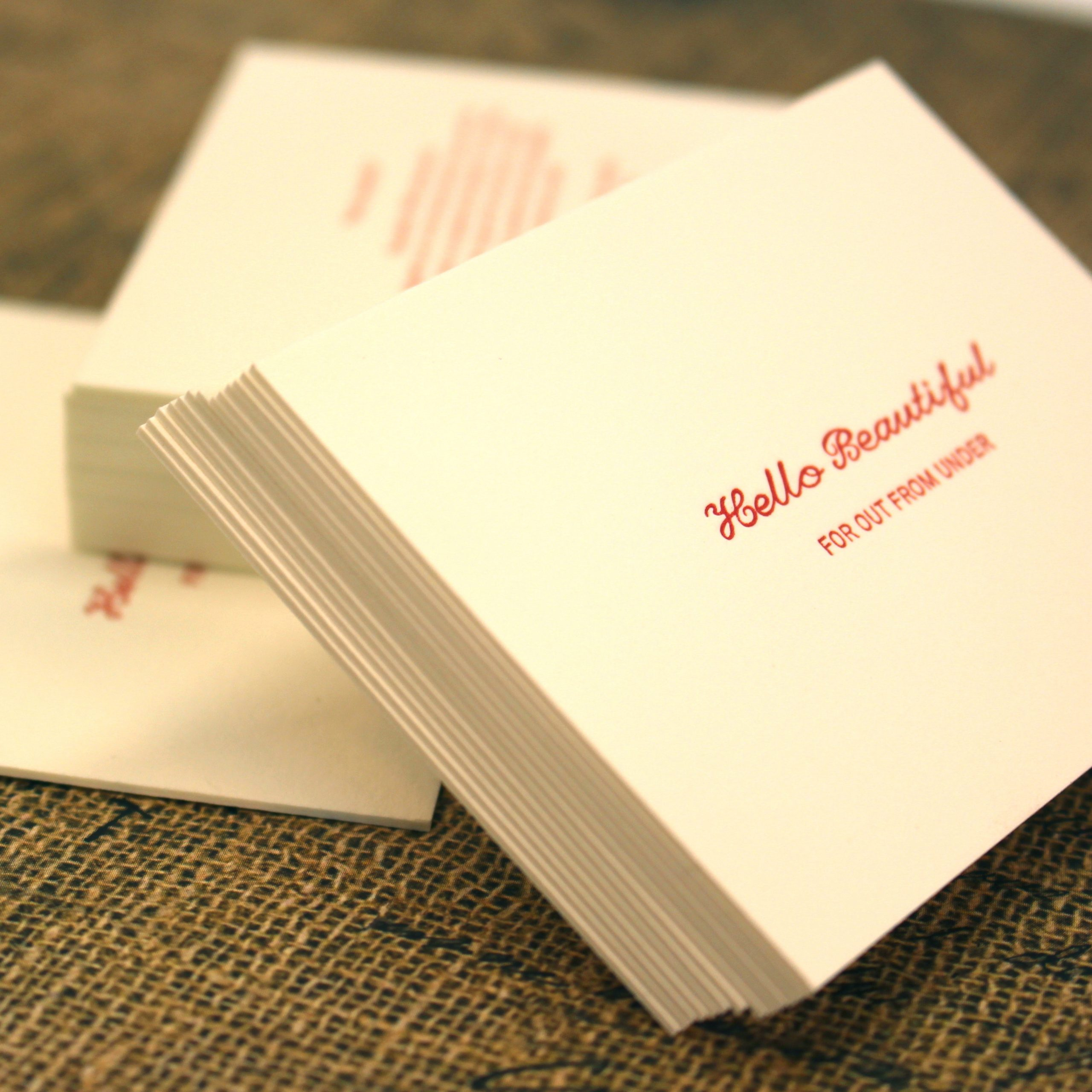 red letterpress printing